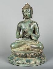 "Antique Thai Style Bronze Buddha Statue in Dharmachakra Teaching Mudra -35cm/14"""