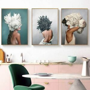 Flowers Feather Women Wall Art Poster Oil Painting Canvas For Living Room Decor