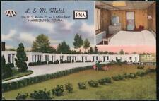 HARRISBURG PA L & M Motel Route 22 Vtg Linen Postcard Old PC