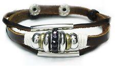 Neu LEDERARMBAND Armband ECHT LEDER Tibet / Surfer Armband UNISEX Strasssteine