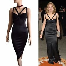 DOLCE & GABBANA black corset double strap Madonna HOT DRESS size 10 6 42 DG