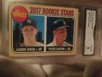 2017 Topps Heritage Aaron Judge Tyler Austin Rookie Stars #214 GMA 8 NM-MY