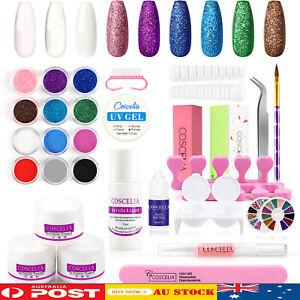 Nail Art Kits Acrylic Powder Glitter Manicure Tips Brush Sticker Full DIY Set