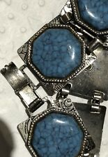 Vtg Old Mexican Silver Faux Moasic Turquoise Bracelet~Alpaca Silver~Southwest