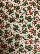 Festive Christmas Holly &  Candy Canes 100% Cotton Fabric by HALF METRE X 112cm
