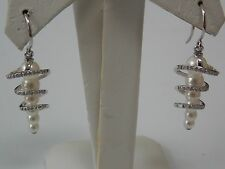 Diamonds & Pearl Swirl Dangling Earrings on 18K White Gold