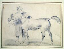 More details for animals arab groom with dabbled stallion pencil english school c1850