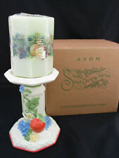 "Nib 2 Avon Pillar Candleholders Decorated Candles Sweet Country Harvest 10"" Gift"
