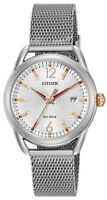 Citizen Eco-Drive LTR Women's Rose Gold Accent Silver-Tone 34mm Watch FE6081-51A