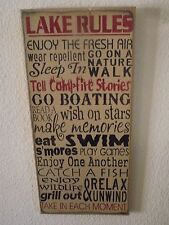 LAKE RULES, FRESH AIR, NATURE WALK, S'MORES,GRILL OUT  primitive wood sign