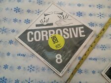 "12 pack Labelmaster CORROSIVE 8 Hazmat Placard Stickers Z-EZ4 10-3/4"" sq."