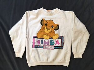 Vintage Simba The Lion King Sweatshirt Youth Size Large White Disney Made In USA