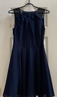 NWOT Express Navy Blue A-line Cocktail Dress Keyhole Zipper Sleeveless Size 4