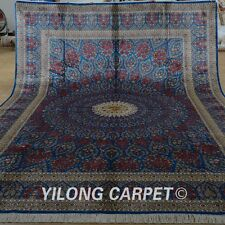 Yilong 9'x12' Handknotted Persian Oriental Silk Rug Floral Qom Home Carpet 1911