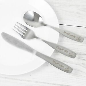 Personalised 3 Piece Children's Cutlery Set Kids Gift Birthday Christening Baby