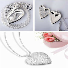 Fashion Style Silver Plated Necklace Pendant Love Heart  Locket Chain Hot Sale