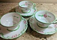 3  Porta Portugal Victoria Pink Rose Footed Teacups  Saucers Green Trim Arrels
