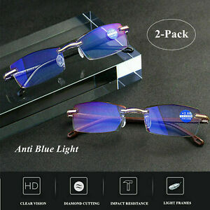 2 Pack Rimless Reading Glasses HD Lens Anti Blue Light Computer Frameless