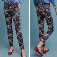 Pilcro And The Letterpress Anthropologie Skinny Jeans Black Floral Size 29