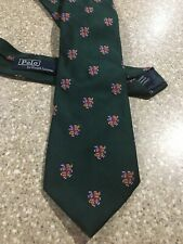 Vintage Ralph Lauren Polo All Over Print Crest Silk Neck Tie Hand Made In Italy