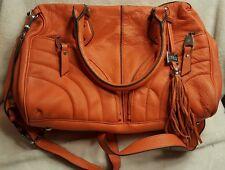 AIMEE KESTENBERG Orange Leather Tassle Large Shoulder Hand Bag VGUC