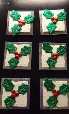 Christmas card making Embellishments, toppers decorations Holly Xmas x 6