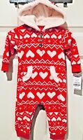 Carter's Girls Red & White Heart FairIsle Fleece Jumpsuit with Hood NEW With Tag