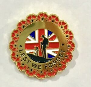 COLLECTABLE MILITARY SOLDIER LEST WE FORGET LAPEL REMEMBRANCE PIN BADGE
