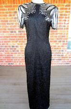 VINTAGE LAURENCE KAZAR SEQUIN BEADED BLACK AND SILVER DRESS SHORT SLEEVE