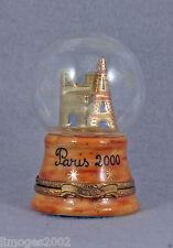 New French Limoges Trinket Box Globe & Paris Monuments Notre Dame De Paris