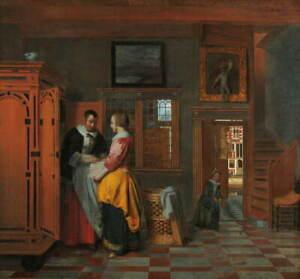 Pieter de Hooch Interior with Women a Linen Cupboard Giclee Paper Print Poster
