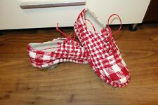 GREAT SIMONE ROCHA DERBY TWEED SHOES, CHECK RED, SIZE UK 4, EU 37 MADE IN ITALY