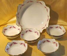Service à crème saladier 8 coupelles porcelaine décor floral rose fushia doré