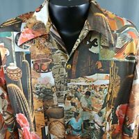 Vtg 70s Disco Shirt Large Native American Cactus Groovy Stretch Knit Buttons