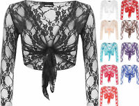 New Womens Floral Lace Tie Up Long Sleeve Ladies Open Cardigan Shrug Top 8 - 14