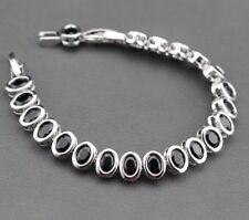 """925 Sterling Silver Oval Shaped Black  Sapphire Tennis Bracelet 7-8"""" Adjustable"""