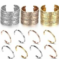 Personalized Silver Stainless Steel Letter Cuff Bangle Bracelet Family Jewelry