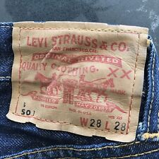 Vintage 60's Levis 501 Selvedge Red Line Denim Blue Jeans Big E 28 X28