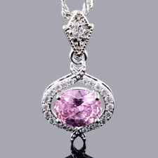 Stunning 18K White GP Cubic Zirconia Pink Sapphire Oval Cut Pendant Necklace