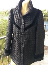 Betsy Johnson Quilted Jacket Coat Black Velvet Trim Size Large