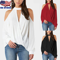 Women Cold Shoulder Chocker V Neck Tops Summer Casual Lace Top T Shirt Blouse US