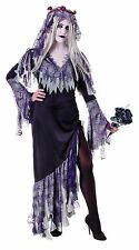 Ladies Zombie Bride Purple Corpse Fancy Dress Halloween Costume Ghost