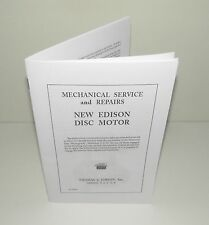 Edison Disc Spring Motor Repair Manual for Diamond Disc and other phonographs