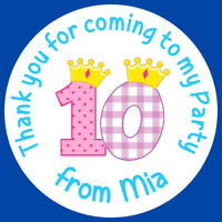 PERSONALISED GLOSS 10th BIRTHDAY GIRL PARTY BAG, SWEET CONE STICKERS PRINCESS