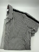 MBX Mens Short Sleeve Button Up Striped Black White Size L