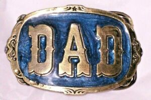 Vintage 1985 Solid Brass ~ DAD ~ Blue Enamel Inlay BELT BUCKLE Made in USA