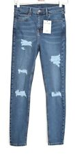 Ladies Womens Topshop Skinny JAMIE Rip Blue High Rise Stretch Ankle Jeans 10 L32