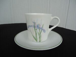 corelle corning ware iris coffee tea mug & saucer