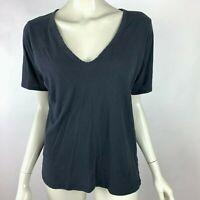 Everlane Short Sleeve Tee Shirt Cotton Stretch Solid Black Top V-Neck Women M