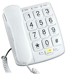 PB300WH Big Button Phone for Elderly Seniors Landline Corded Phone with